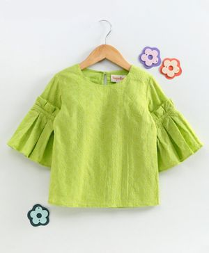 Hugsntugs Schiffly Embroidered Full Sleeves Top  - Green