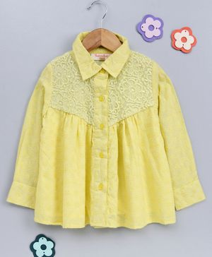 Hugsntugs Flower Embroidered Full Sleeves Top - Yellow