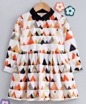 Hugsntugs Triangle Print Full Sleeves Dress - Multicolor