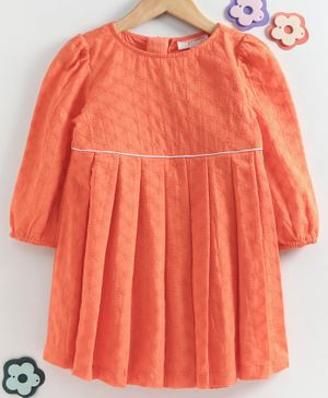 Hugsntugs Schiffly Embroidered Full Sleeves Dress - Orange