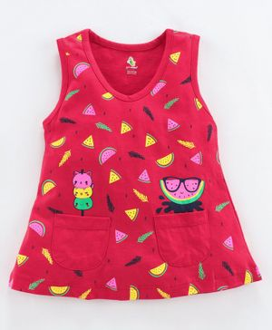 Cucumber Sleeveless Frock Watermelon Print - Red