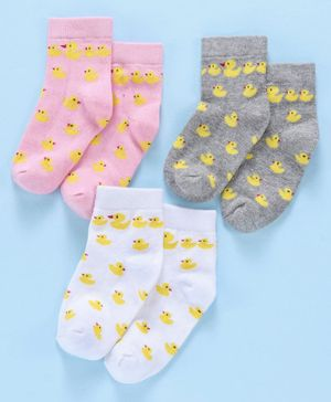 Cute Walk by Babyhug Antibacterial Ankle Length Socks Duck Design Pack of 3 - Pink Grey White