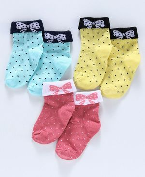 Cute Walk by Babyhug Anti Bacterial Ankle Length Socks Pack of 3 - Multicolor
