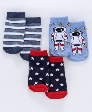 Cute Walk by Babyhug Antibacterial Ankle Length  Striped & Designed Socks Pack of 3 - Blue White