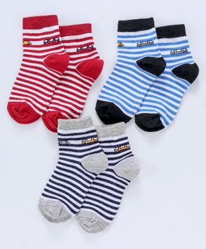 Cute Walk by Babyhug Antibacterial Ankle Length Non Terry Stripe Socks Pack of 3 - Blue Red Grey