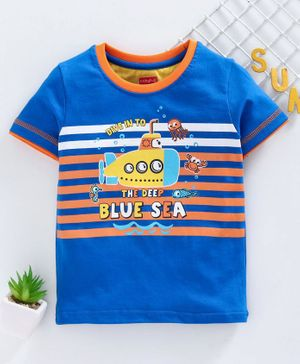 Babyhug Half Sleeves Tee Submarine Print - Blue