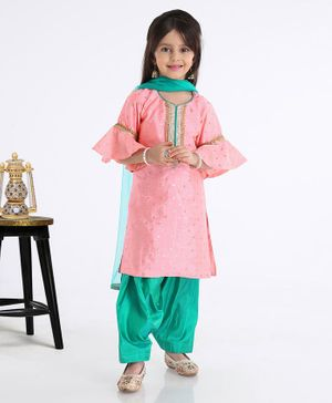 Saka Designs Frilled Three Fourth Sleeves Embroidered Kurta With Salwar - Pink Green