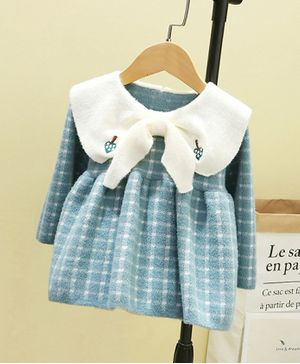 Pre Order - Awabox Full Sleeves Checked Bow Decor Dress - Blue