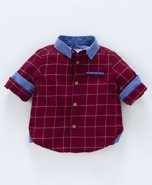 Babyoye Full Sleeves Checks Shirt - Maroon
