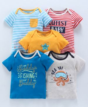 Babyoye Half Sleeves Cotton Tee Pack of 5 Striped & Printed - Multicolor