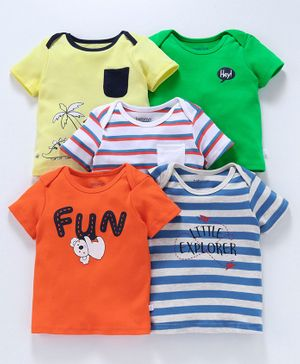 Babyoye Half Sleeves Cotton Striped & Printed Tee Pack of 5 - Multicolor