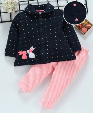 ToffyHouse Winter Wear Front Open Top & Leggings Bunny Embroidered - Navy
