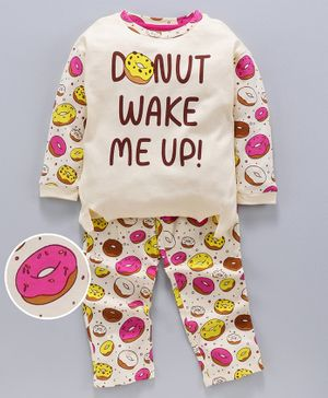 Ventra Full Sleeves Donut Print Night Suit - Cream