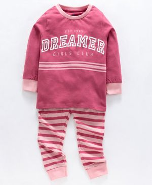 Ventra Full Sleeves Dreamer Print Night Suit - Pink