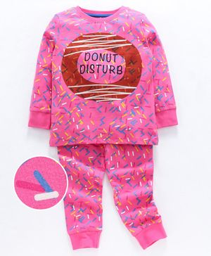 Ventra Full Sleeves Sprinkles Print Night Suit - Pink