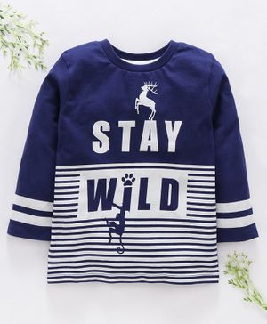 Ventra Full Sleeves Stay Wild Print Tee - Navy Blue