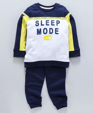 Ventra Full Sleeves Sleep Mode Print Night Suit - Blue