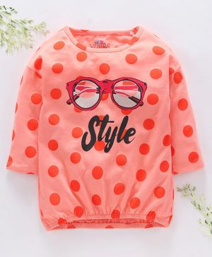 Ventra Full Sleeves Polka Dot Print Top - Peach