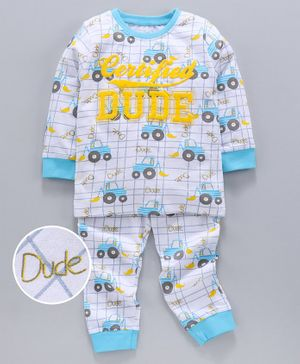 Vetra Full Sleeves Vehicle Print Night Suit - Blue