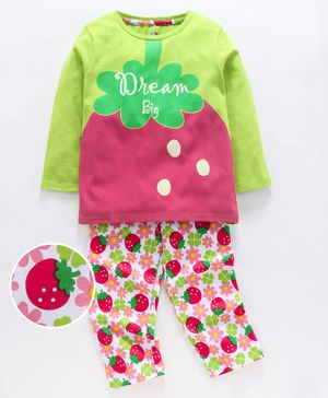 Ventra Full Sleeves Fruit Print Night Suit - Multi Colour