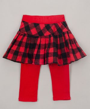 The Sandbox Clothing Co Checkered Full Length Skeggings - Red