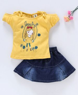 Cucumber Cold Shoulder Top And Denim Skirt Doll Print - Yellow Blue