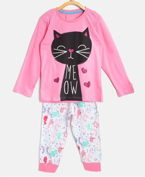 Little Marine Cat Printed Full Sleeves Night Suit - Pink