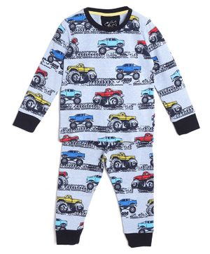 Little Marine Tractor Print Full Sleeves Night Suit - Blue
