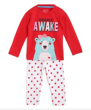 Little Marine Bear Print Full Sleeves Night Suit  - Red
