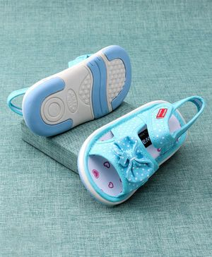 Cute Walk by Babyhug Musical Sandals Bow Applique - Blue