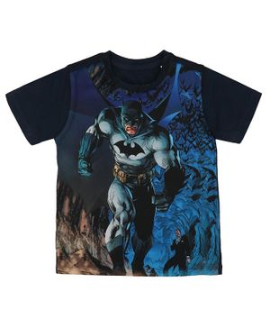 Batman By Crossroads & Joker Print Half Sleeves T-Shirt - Blue