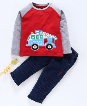 Birthday BOY Full Sleeves  T-Shirt & Jeans Truck Print - Red