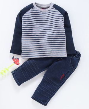 Birthday BOY Winter Wear Full Sleeves Striped T-Shirt & Jeans - Navy Grey