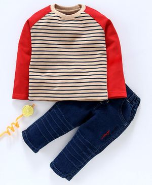 Birthday BOY Winter Wear Full Sleeves Striped T-Shirt & Jeans - Navy Red