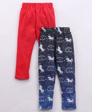 Eteenz Full Length Lounge Pants Unicorn Print Pack of 2 - Red Blue