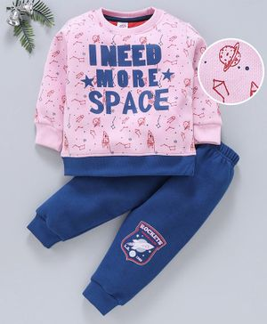 Mini Donuts Full Sleeves Winter Wear Suits - Pink