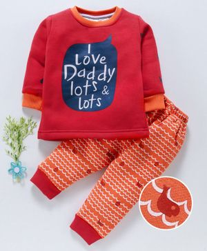 Mini Donuts Winter Wear Full Sleeves Suit - Red