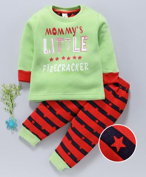 Mini Donuts Full Sleeves Winter Wear Tee And Bottoms Text Print - Green Red