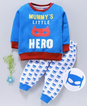 Mini Donuts Full Sleeves Winter Wear Tee And Bottoms Batman Print - Royal Blue White
