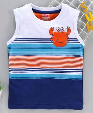 Babyhug Sleeveless Tee Crab Print - White Blue