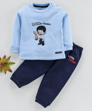 Little Darlings Full Sleeves Winter Wear Suits Boy Embroidered - Sky Blue