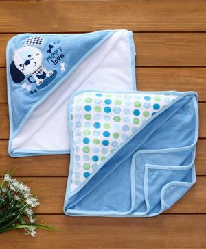 Owen Knit Cotton Hooded Towels Pack of 2 - Blue White