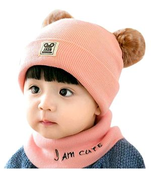 Syga Small Knitted Pom Pom Cap & Scarf Set  - Pink