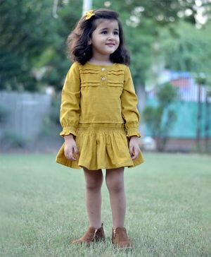 Piccolo Puffed Full Sleeves Solid Frill Dress - Yellow