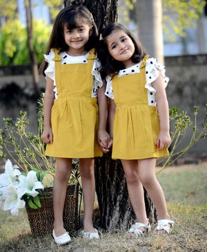 Piccolo Polka Dot Print Short Ruffled Sleeves Top With Dungaree Style Dress - Yellow