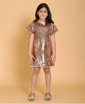 Piccolo Short Sleeves Sequin Embellished Dress - Golden