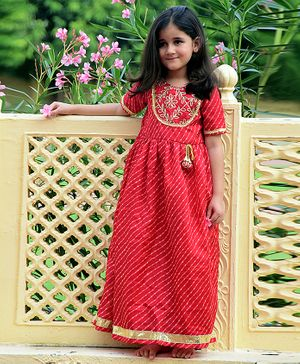 Piccolo Flower Lace Detailed Half Sleeves Dress - Red