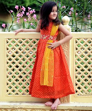 Piccolo Leheriya Sleeveless Dress With Attached Net Dupatta - Orange