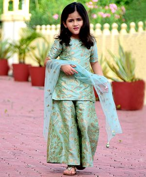 Piccolo All Over Golden Leaves Printed Half Sleeves Kurta With Palazzo & Net Dupatta - Light Green