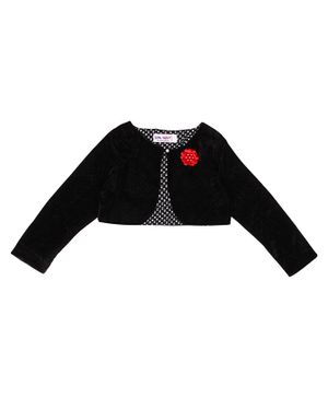 Soul Fairy Flower Embroidery Full Sleeves Velvet Shrug With Satin Lining - Black